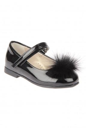 حذاء بيبي بناتي مع فرو - اسود
