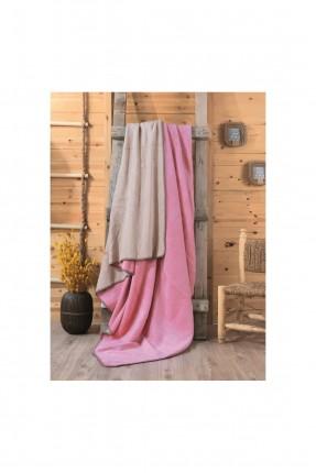 بطانية مزدوجة - وردي و بيج