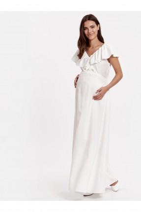 فستان نسائي للحمل مع كشكش - ابيض