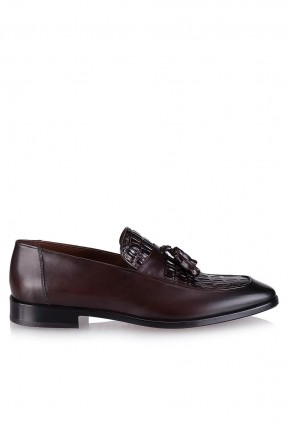 حذاء رجالي مزين بكشكش - بني