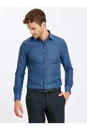 قميص رجالي طويل الاكمام - ازرق