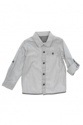 قميص اطفال ولادي مخطط - رمادي