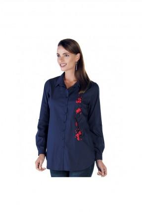 قميص حمل مطرز بورد - ازرق داكن
