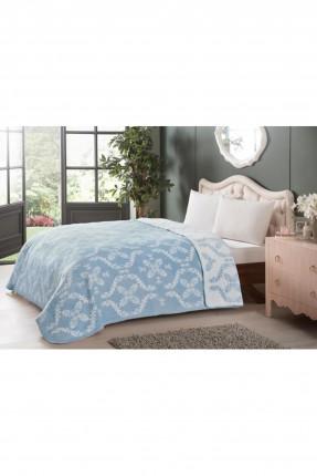 بطانية سرير مزدوج مزخرفة - ازرق
