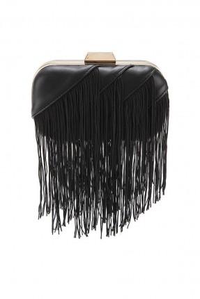 حقيبة يد نسائية مزينة بشراشيب - اسود