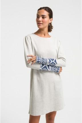 فستان نسائي قصير باكمام منقشة - رمادي