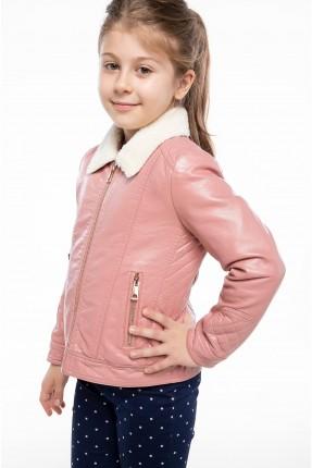 جاكيت اطفال بناتي جلد  صناعي - وردي