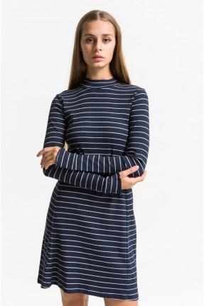 فستان نسائي سبور مخطط بياقة عالية - ازرق داكن
