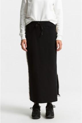 تنورة طويلة مفتوحة الجوانب مع خط - اسود