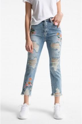 بنطال نسائي جينز ممزق مع نقش ورود