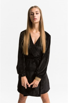 فستان نسائي قصير لامع مع ربطة - اسود