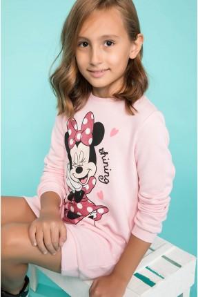 فستان اطفال بناتي مع رسمة ميني ماوس - وردي