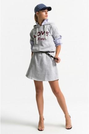فستان نسائي قصير سبور مع كابيشون - رمادي
