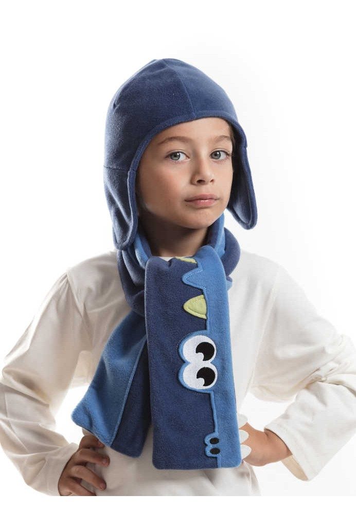 bcf774057 صورة 1 من اصل 1. طقم اطفال ولادي قبعة +لفحة - للبيع بالجملة - دينو كيدز -  denokids