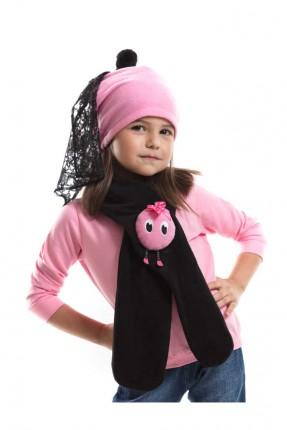 طقم اطفال بناتي قبعة + لفحة