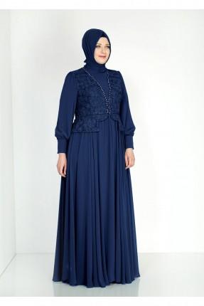 فستان رسمي منقشة ورد - ازرق داكن