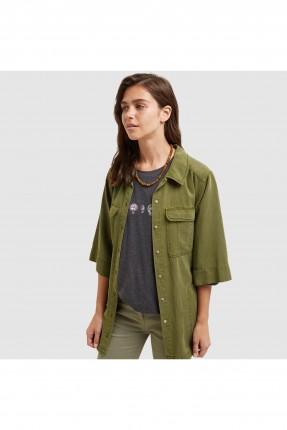 قميص نسائي باكمام قصيرة مع جيب