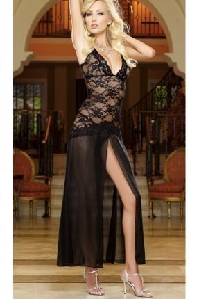 لانجري فستان طويل مع شق