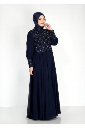 فستان رسمي مزينة على الاكمام والصدر - ازرق داكن