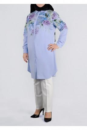 قميص نسائي للمحجبات شيك مورد - ازرق