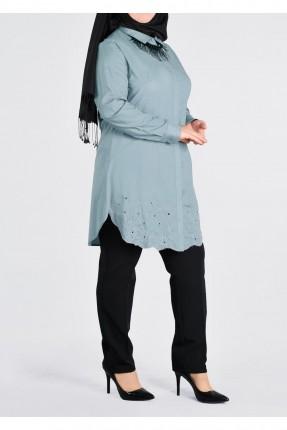 قميص نسائي للمحجبات منقش - نيلي