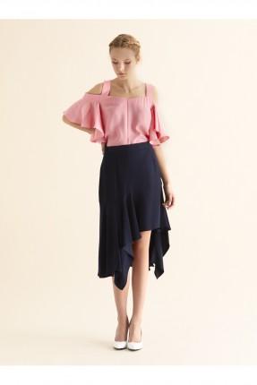 تنورة قصيرة غير متساوية الطول - ازرق داكن
