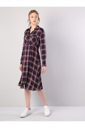 فستان طويل نقش مربعات طويل الاكمام