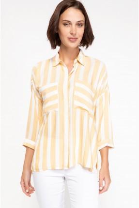 قميص نسائي مخطط - اصفر