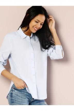 قميص نسائي باكتاف مزينة باللؤلؤ - ازرق