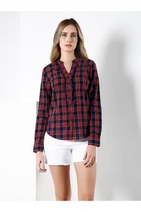 قميص نسائي طويل الاكمام مع كشكش
