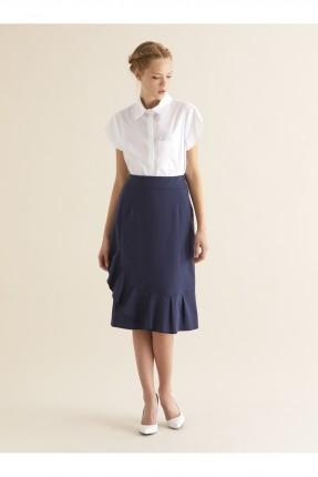 تنورة قصيرة مع كشكش - ازرق داكن