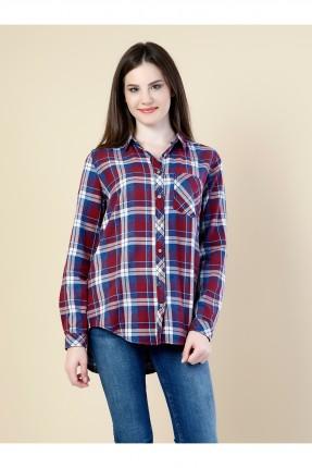 قميص نسائي طويل الاكمام  - خمري