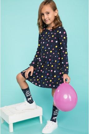 فستان اطفال بناتي منقش دوائر