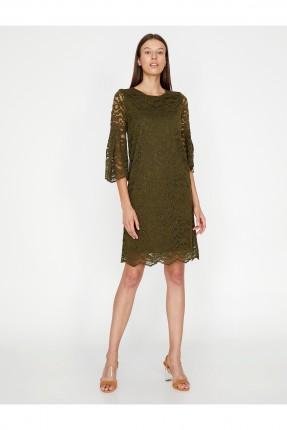 فستان دانتيل رسمي - زيتي