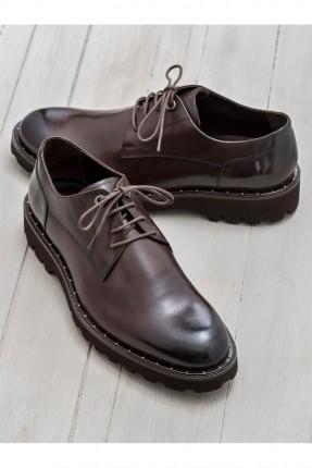حذاء رجالي رسمي مع رباطات - بني
