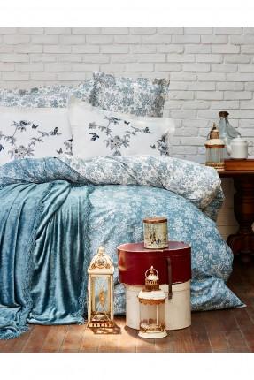 طقم غطاء سرير مزدوج منقش - تركواز