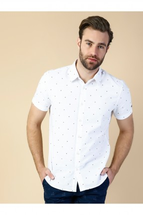 قميص رجالي باكمام قصيرة - ابيض