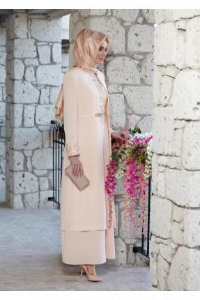 طقم نسائي رسمي فستان + جاكيت طويل