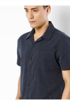 قميص رجالي باكمام قصيرة منقط - ازرق داكن
