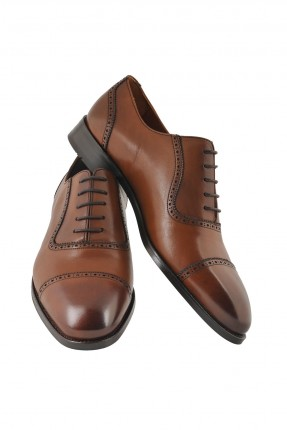 حذاء رجالي جلد منقش برباط