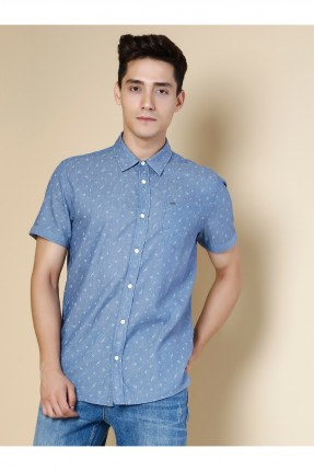 قميص رجالي باكمام قصيرة منقش - ازرق