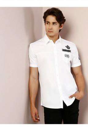 قميص رجالي باكمام قصيرة مع جيب وطبعة - ابيض