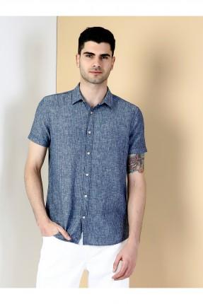 قميص رجالي باكمام قصيرة - ازرق