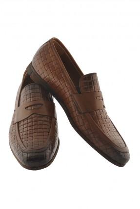 حذاء رجالي جلد منقش - بني