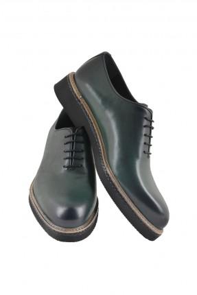 حذاء رجالي جلد برباط - ازرق داكن