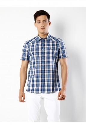 قميص رجالي باكمام قصيرة نقش مربعات مع جيوب