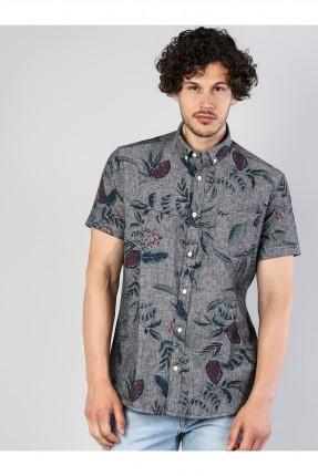 قميص رجالي باكمام قصيرة منقش - رمادي
