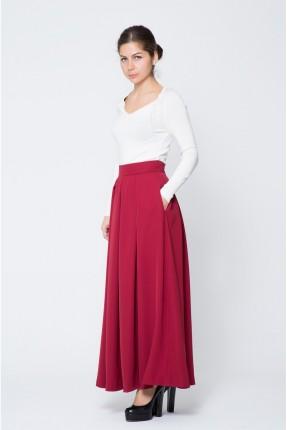 تنورة طويلة مع جيوب - احمر