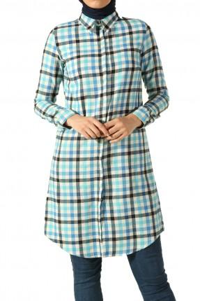 قميص نسائي كاروهات - تركواز