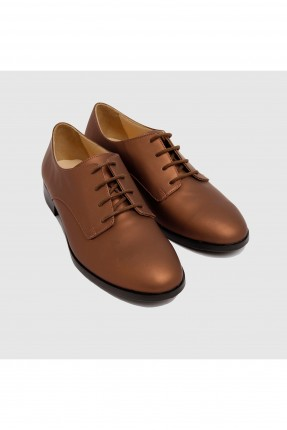 حذاء نسائي جلد - بني